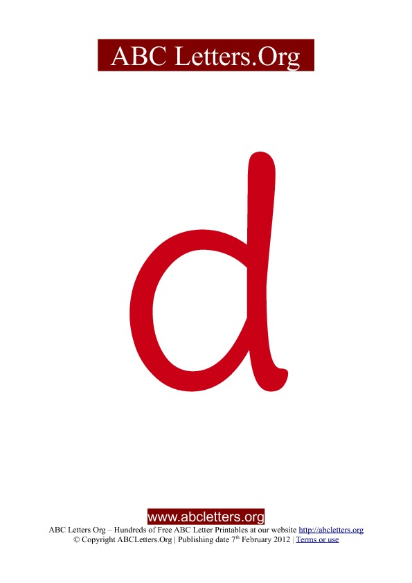 ABC letter printable templates lowercase red D
