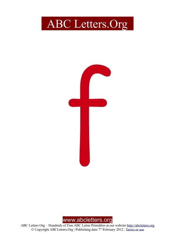 ABC letter printable templates lowercase red F