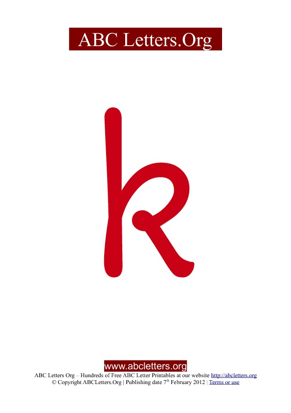 ABC letter printable templates lowercase red K