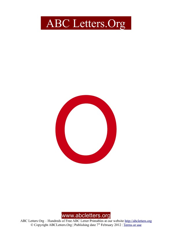 ABC letter printable templates lowercase red O