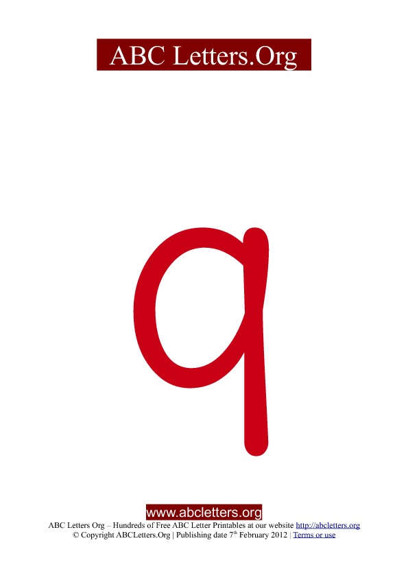 ABC letter printable templates lowercase red Q