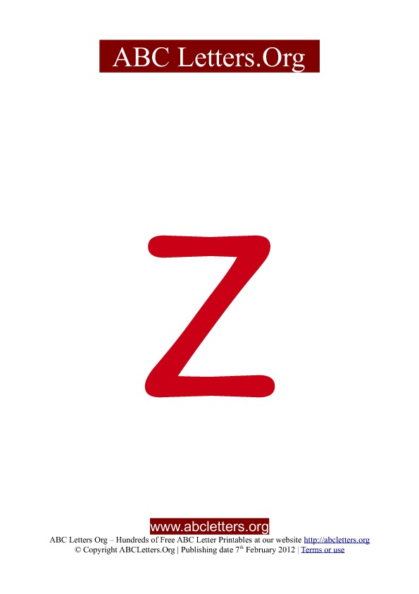 ABC letter printable templates lowercase red Z