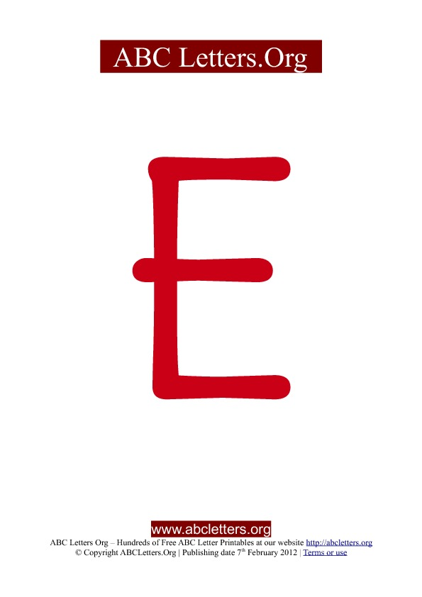 ABC letter printable templates uppercase red E