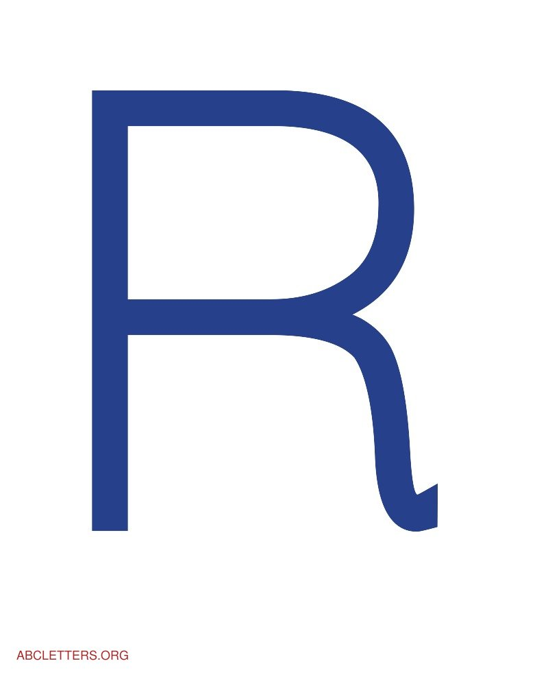 Large ABC Letters Blue White R