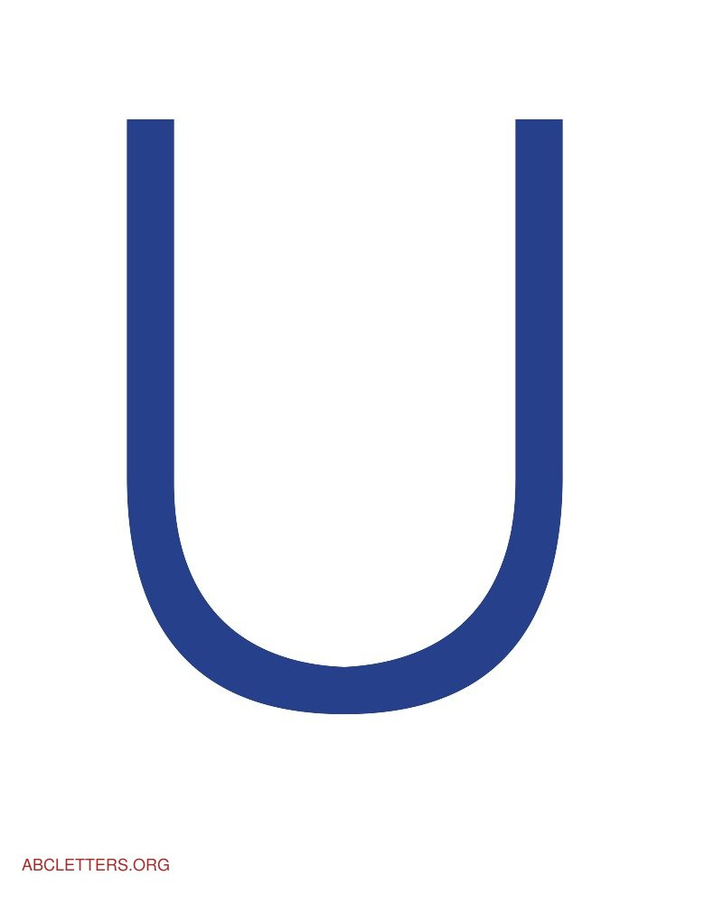Large ABC Letters Blue White U