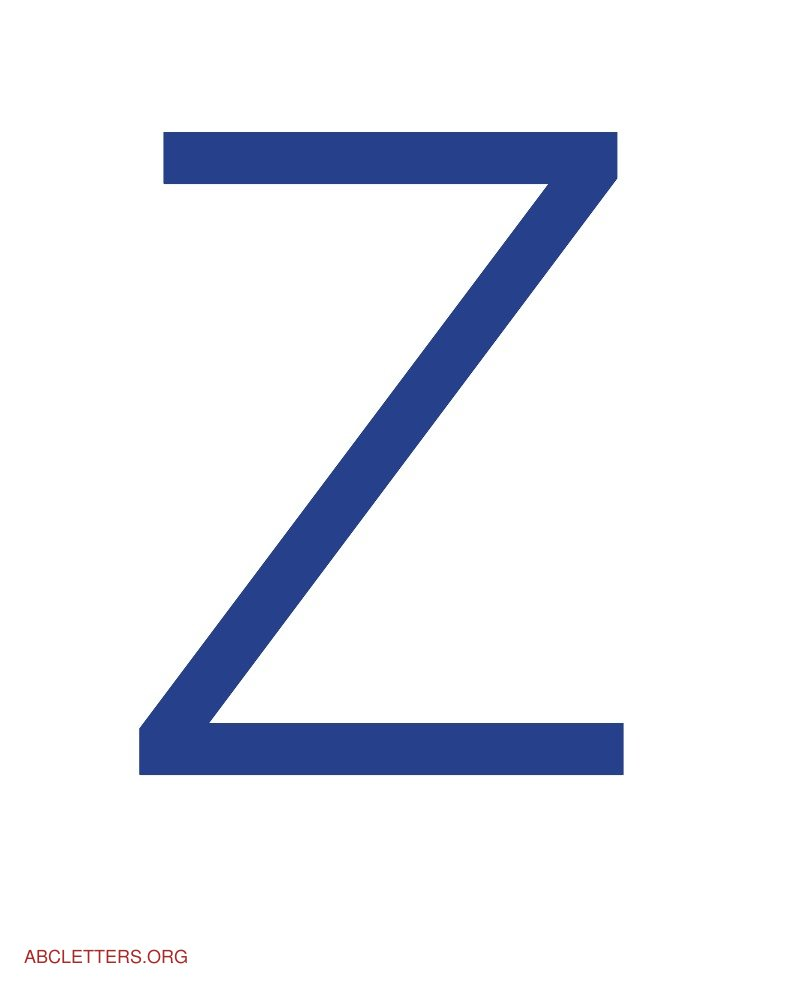 Large ABC Letters Blue White Z