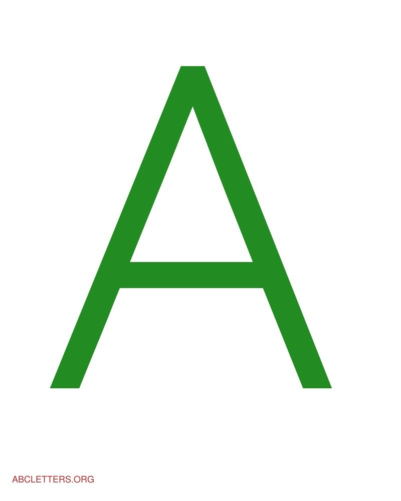 Large ABC Letters Green White A