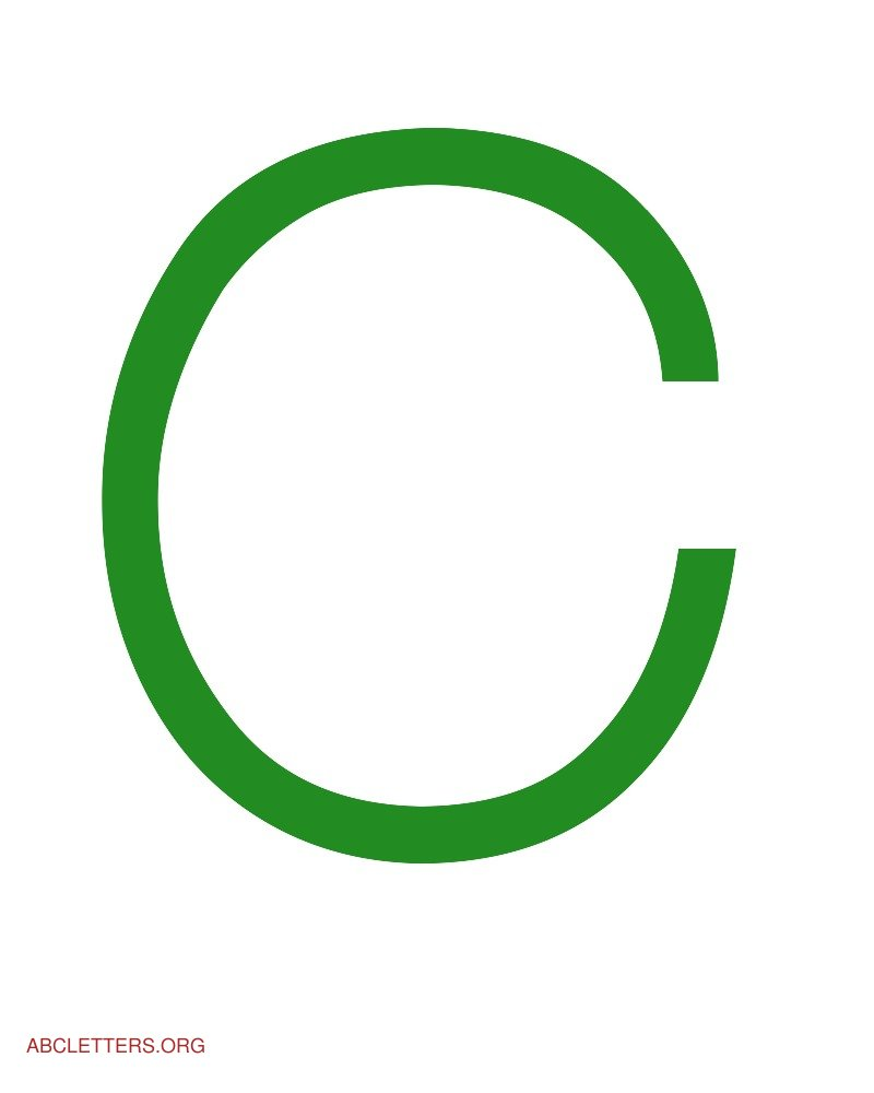Large ABC Letters Green White C