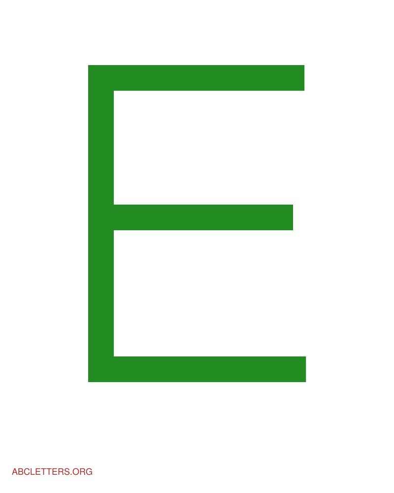 Large ABC Letters Green White E