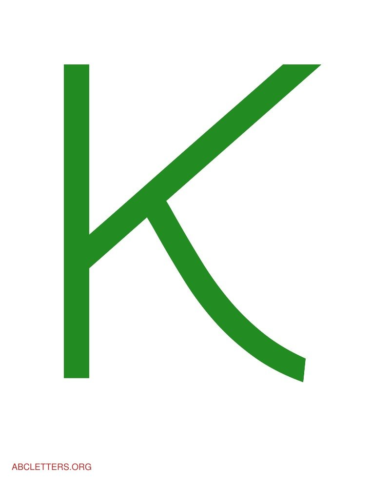 Large ABC Letters Green White K