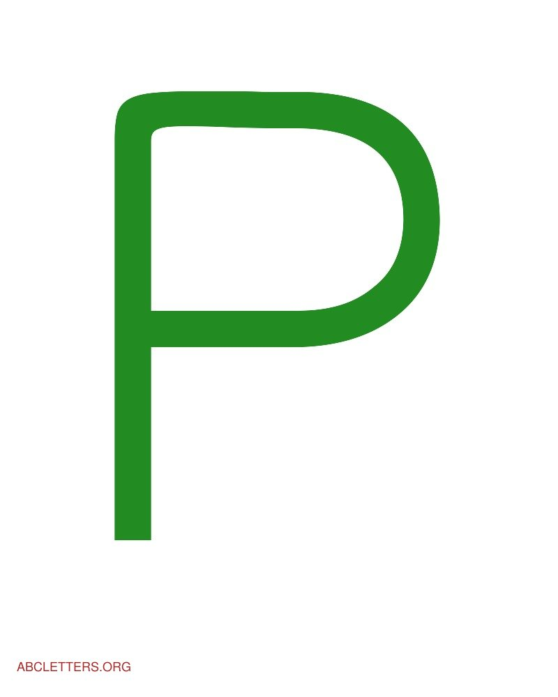 Large ABC Letters Green White P