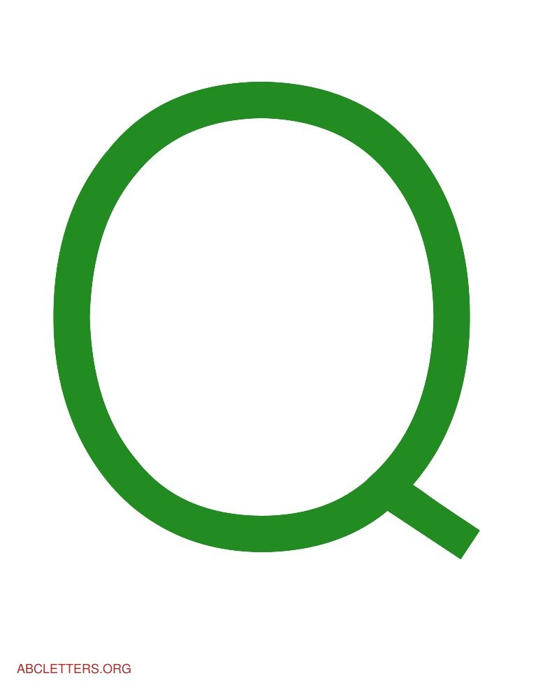 Large ABC Letters Green White Q