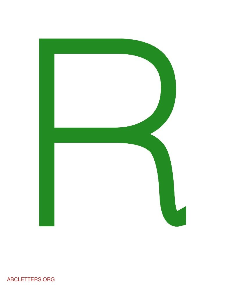 Large ABC Letters Green White R