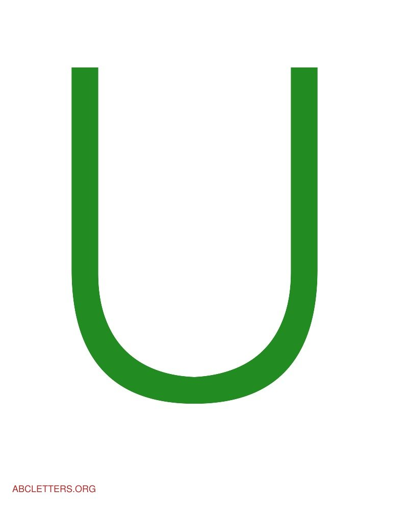 Large ABC Letters Green White U