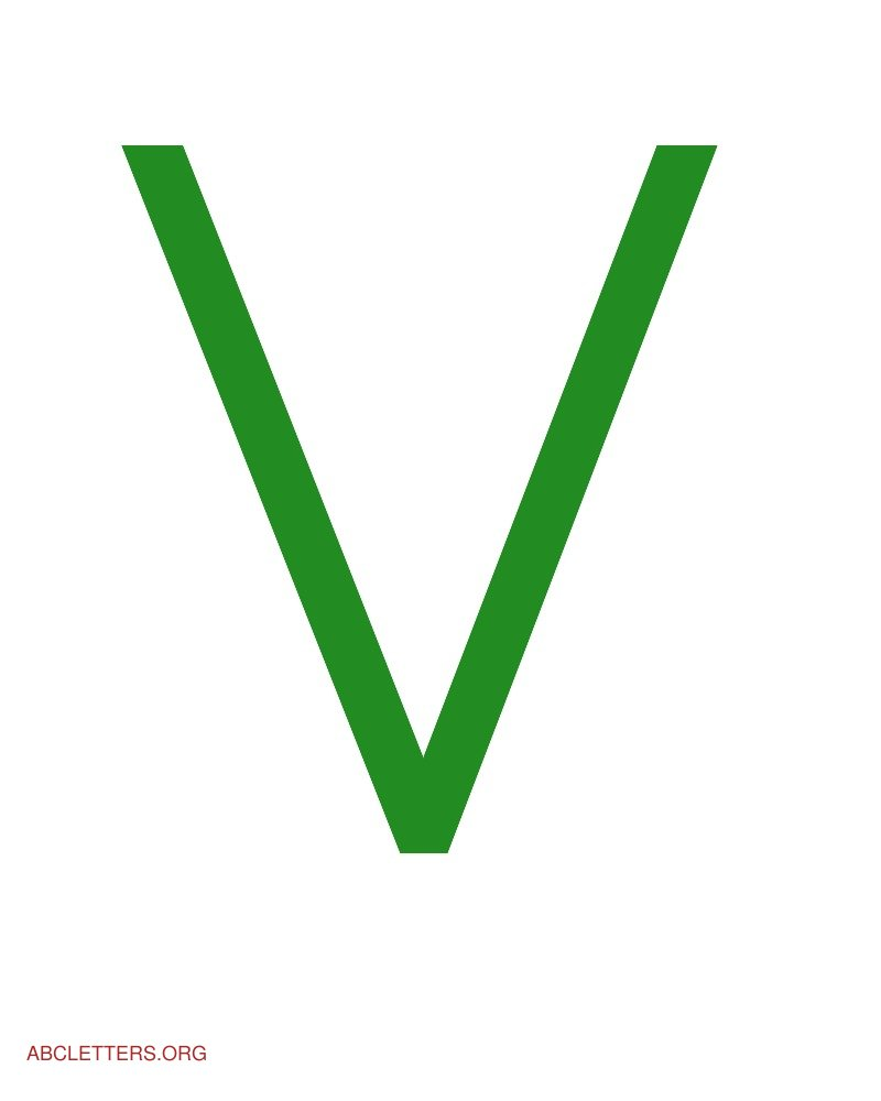 Large ABC Letters Green White V