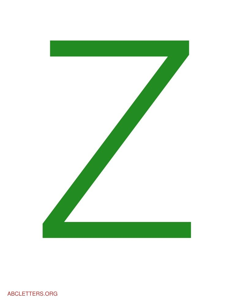 Large ABC Letters Green White Z