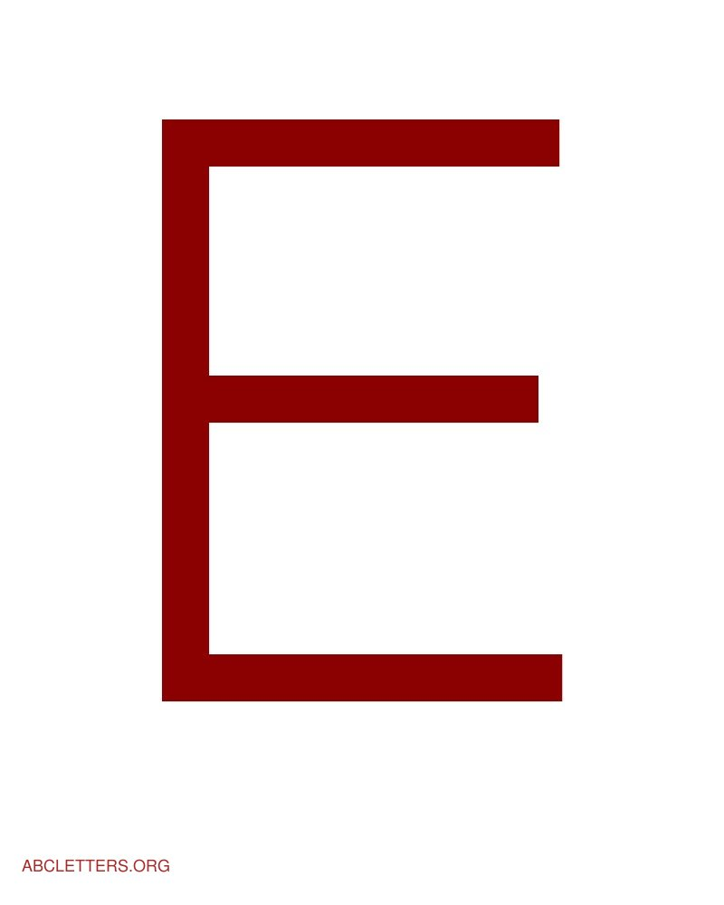 Large ABC Letters Red White E