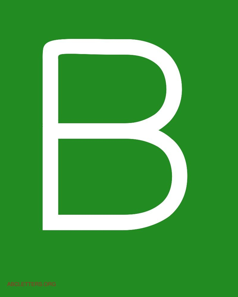 Large ABC Letters White Green B