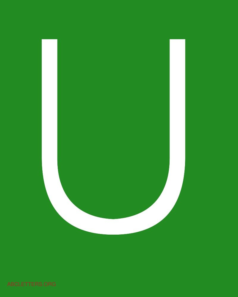 Large ABC Letters White Green U