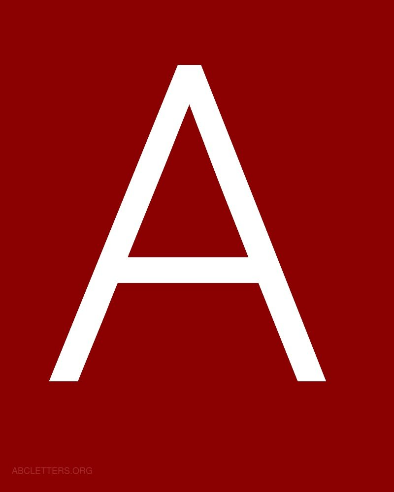 Large ABC Letters White Red A