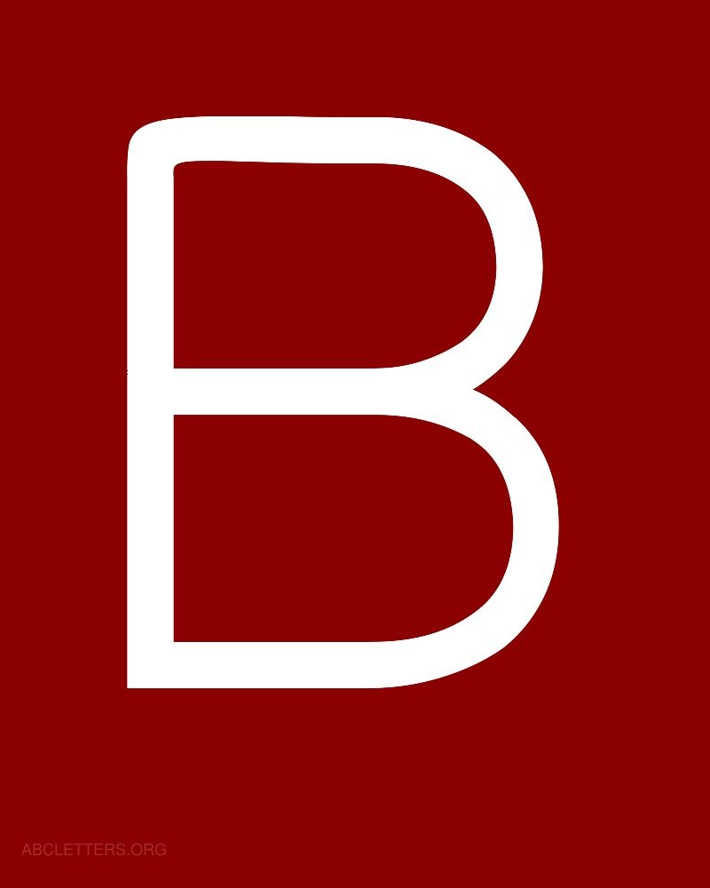 The Letter B In Red Large abc letters white red b