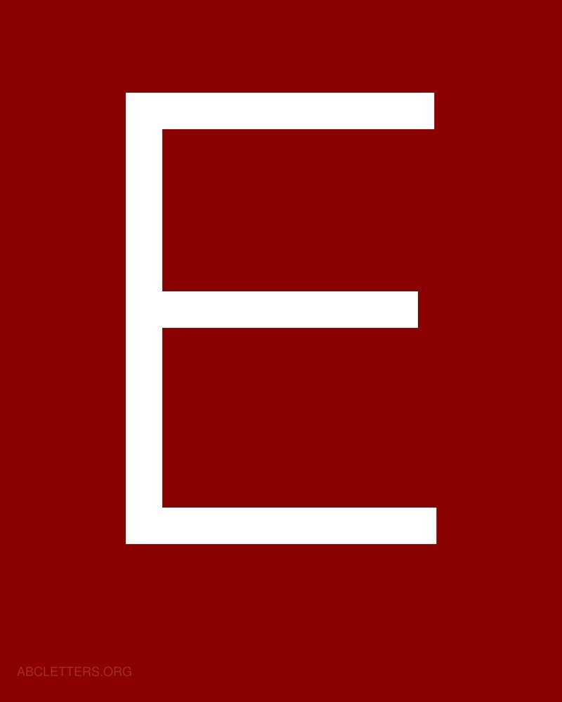 Cursive Red Letter E Large abc letters white red e