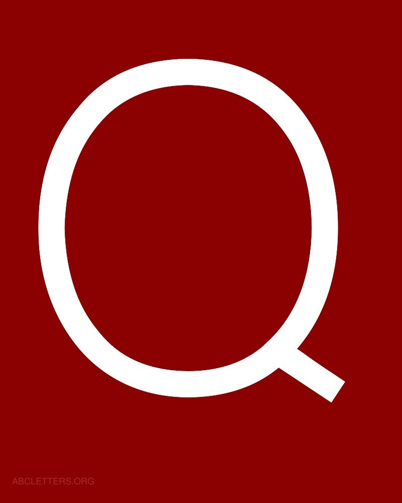 Large ABC Letters White Red Q