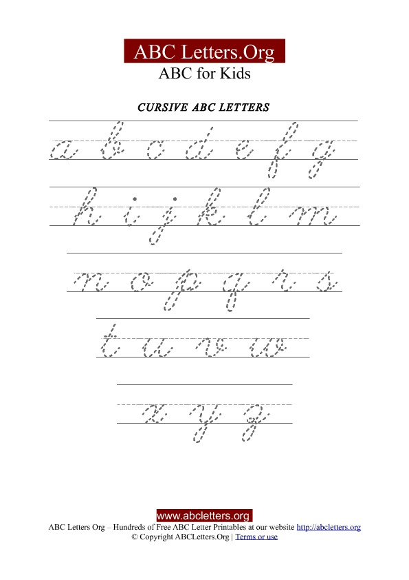 Printable Cursive Letter Tracing Chart Lowercase Abc Letters Org