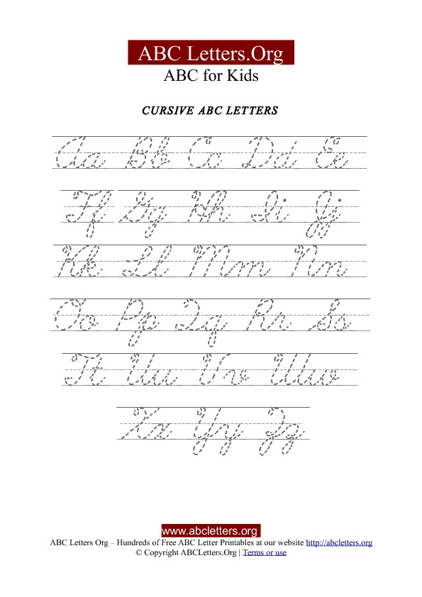 Printable Cursive Letter Tracing Chart Uppercase & Lowercase