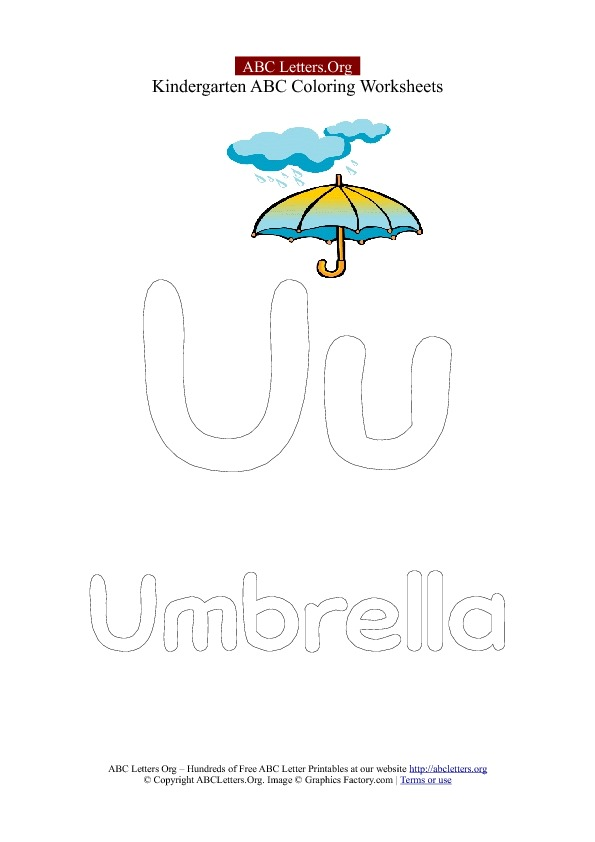 Letter U Kindergarten Umbrella