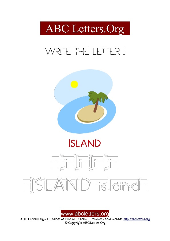 Island Letter I Picture Writing Worksheet