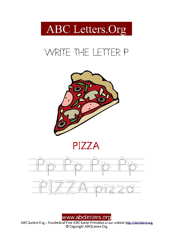 Pizza Letter P Picture Writing Worksheet