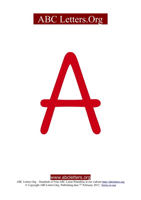 ABC letter printable templates uppercase red A