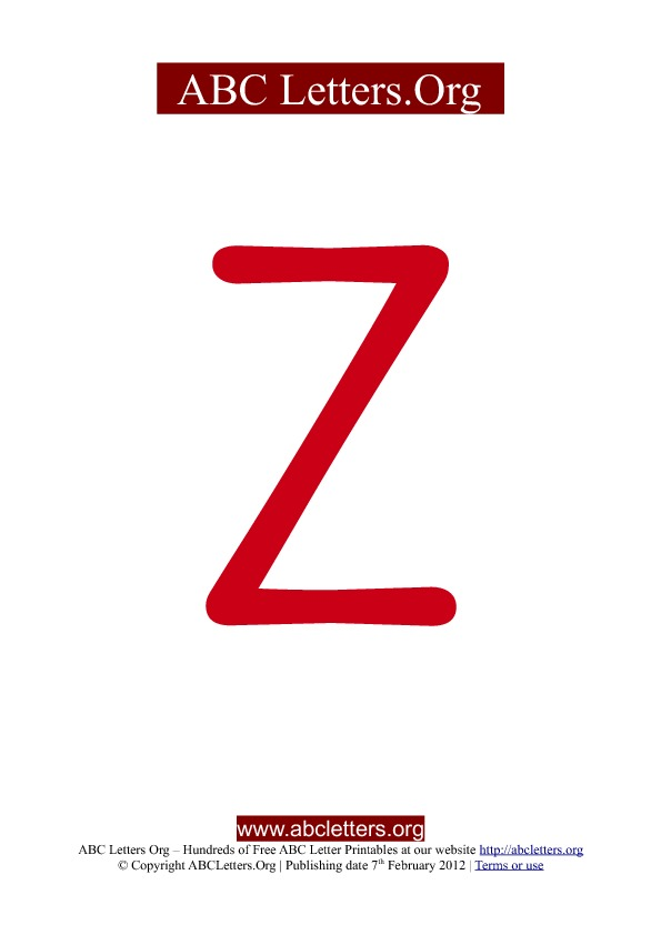 ABC letter printable templates uppercase red Z